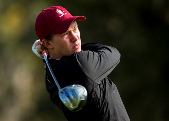 Maverick McNealy watches his tee shot during the USA Team Walker Cup Squad Practice at Frederica Golf Club in St. Simons Island, Ga. on Thursday, Dec. 18, 2014. (Copyright USGA/Chris Keane)