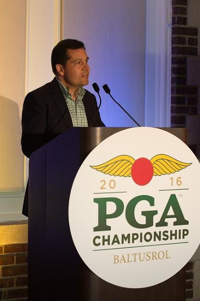 SPRINGFIELD, NJ - JULY 24: PGA of America President, Derek Sprague speaks during the Chairperson Appreciation Reception for the 98th PGA Championship held at the Baltusrol Golf Club on July 24, 2016 in Springfield, New Jersey. (Photo by Traci Edwards/The PGA of America)