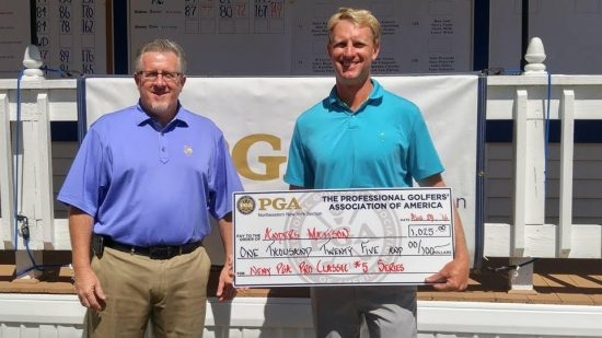 Anders Mattson of Saratoga National wins the NENY PGA Pro Classic #5. Here he receives a check from Bernie Jorgensen. Photo: NENY PGA.
