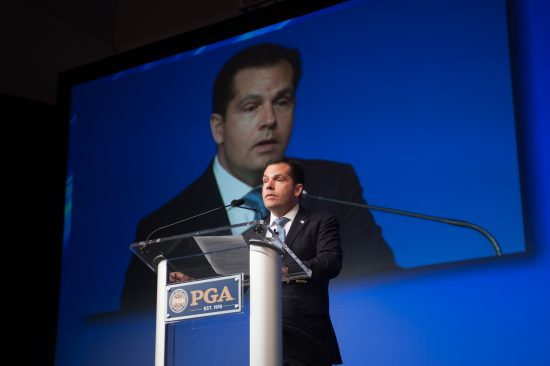 NEW YORK, NY - NOVEMBER 11: PGA of America President Derek Sprague speaks in the General Session during the 100th PGA Annual Meeting held at the Grand Hyatt New York on November 11, 2016 in New York, New York. (Photo by Montana Pritchard/PGA of America)