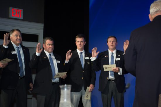 NEW YORK, NY - NOVEMBER 11: Don Rea Jr., Noel Gebauer, Kelly Williams and Patrick Richardson swear in as PGA Board of Directors during the Elections for the 100th PGA Annual Meeting held at the Grand Hyatt New York on November 11, 2016 in New York, New York. (Photo by Montana Pritchard/PGA of America)